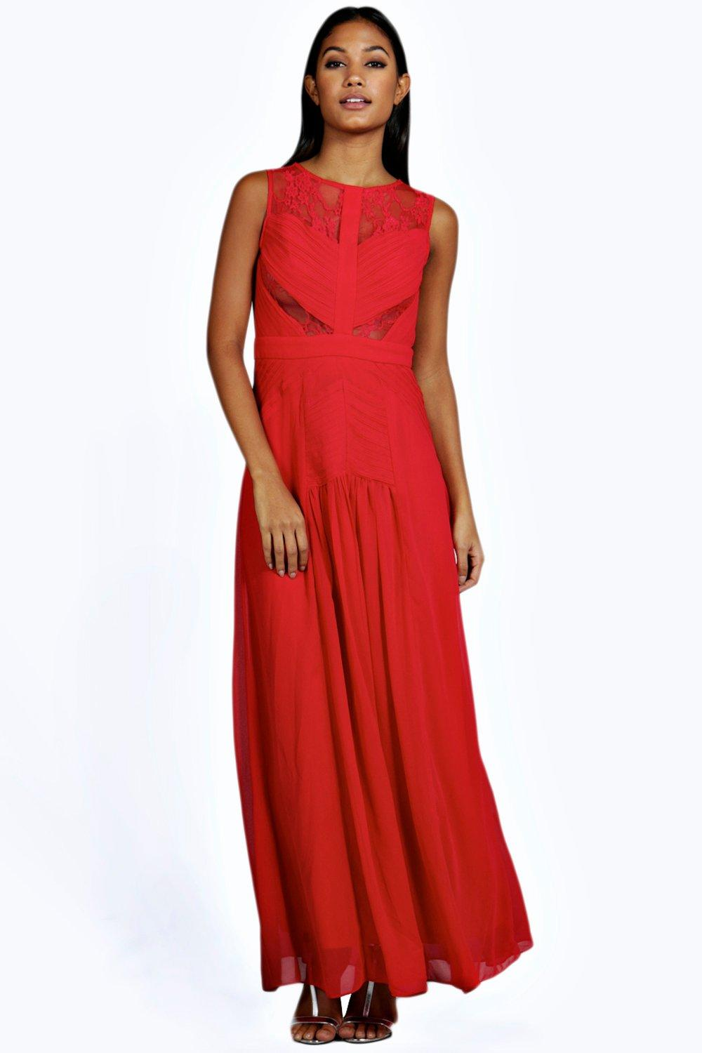 Boutique Cara Ruched And Lace Detail Maxi Dress