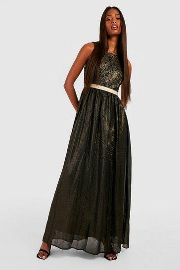 Black Boutique  Lace & Metallic Maxi Dress