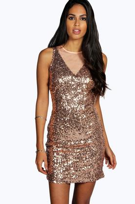 Claire All Over Sequin Open Back Bodycon Dress