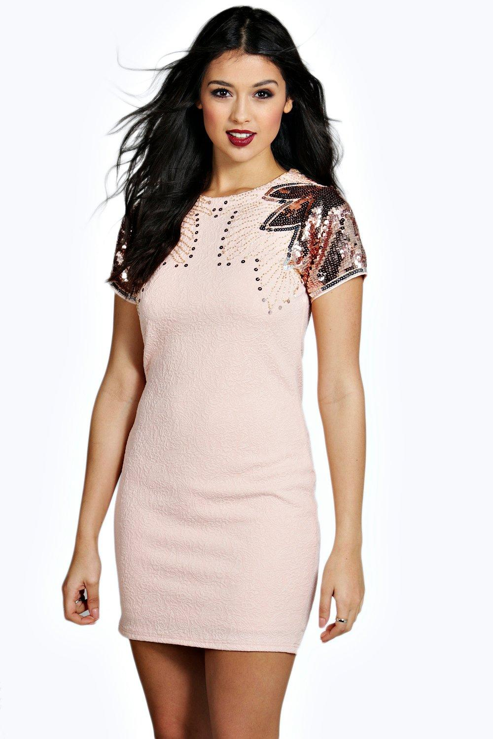 Boutique Maya Embellished Shoulder Bodycon Dress
