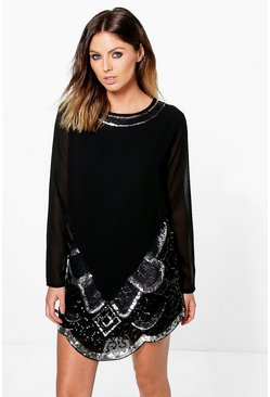 Boutique Ana Embellished Hem Detail Shift Dress