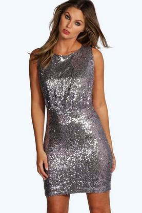 Lisa All Over Sequin Drop Arm Bodycon Dress