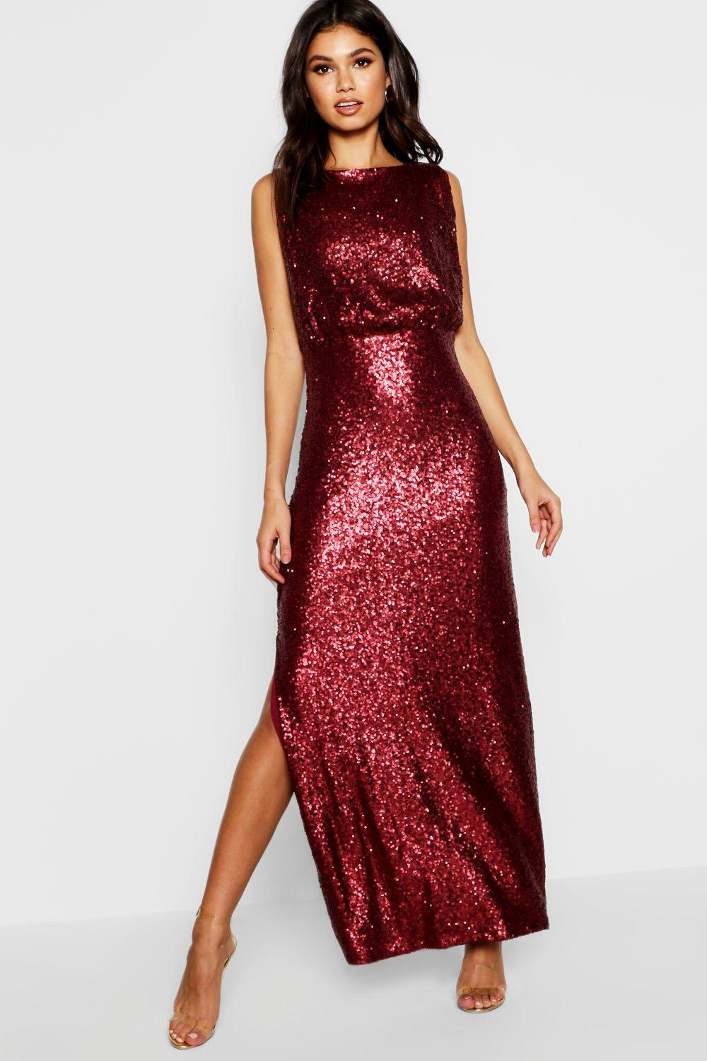 Boutique Eliza Sequin Drop Armhole Maxi Dress