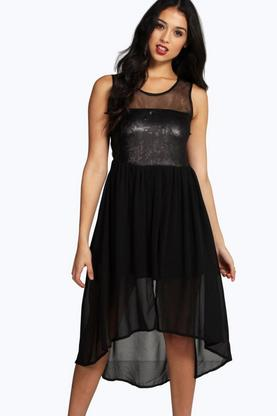 Cassie Sequin Top Chiffon Dip Hem Skater Dress