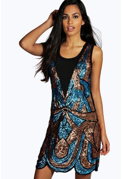 Boutique Ciara All Over Embellished Shift Dress