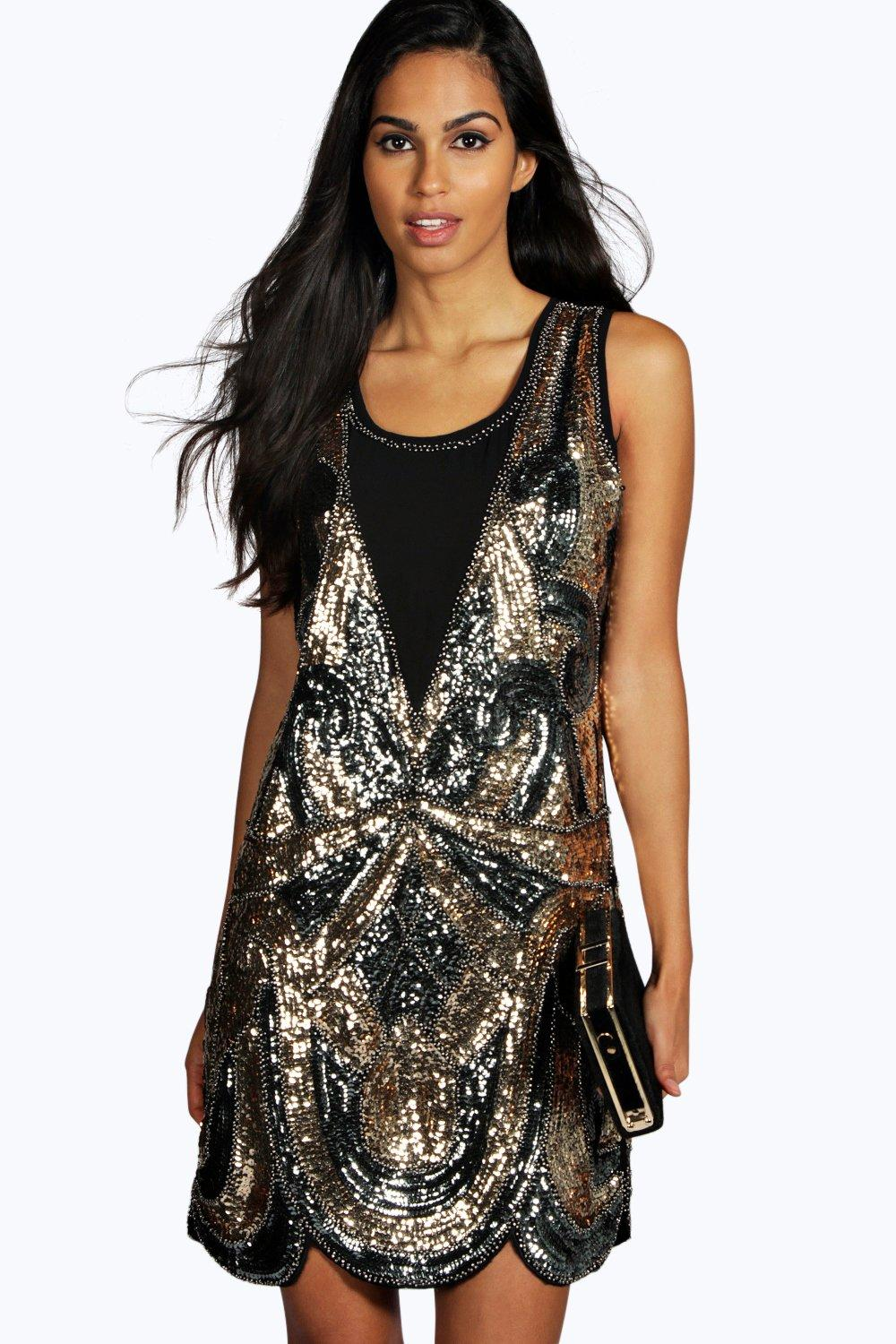 Ciara All Over Embellished Shift Dress  pewter