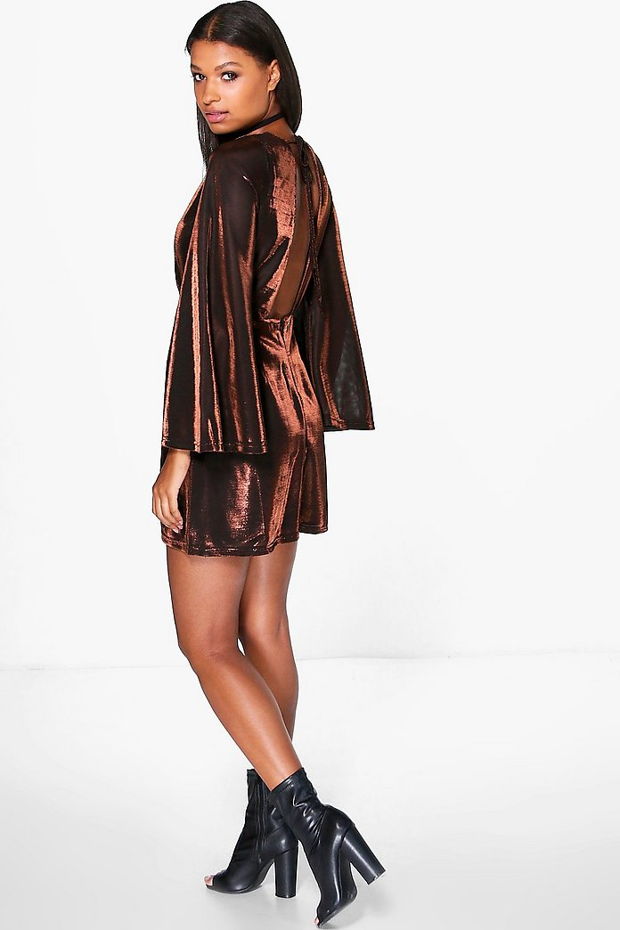 Kora Metallic Open Back Wide Sleeve Skater Dress