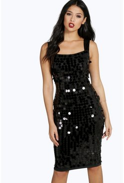 Liz Large Sequin Strappy Midi Dress