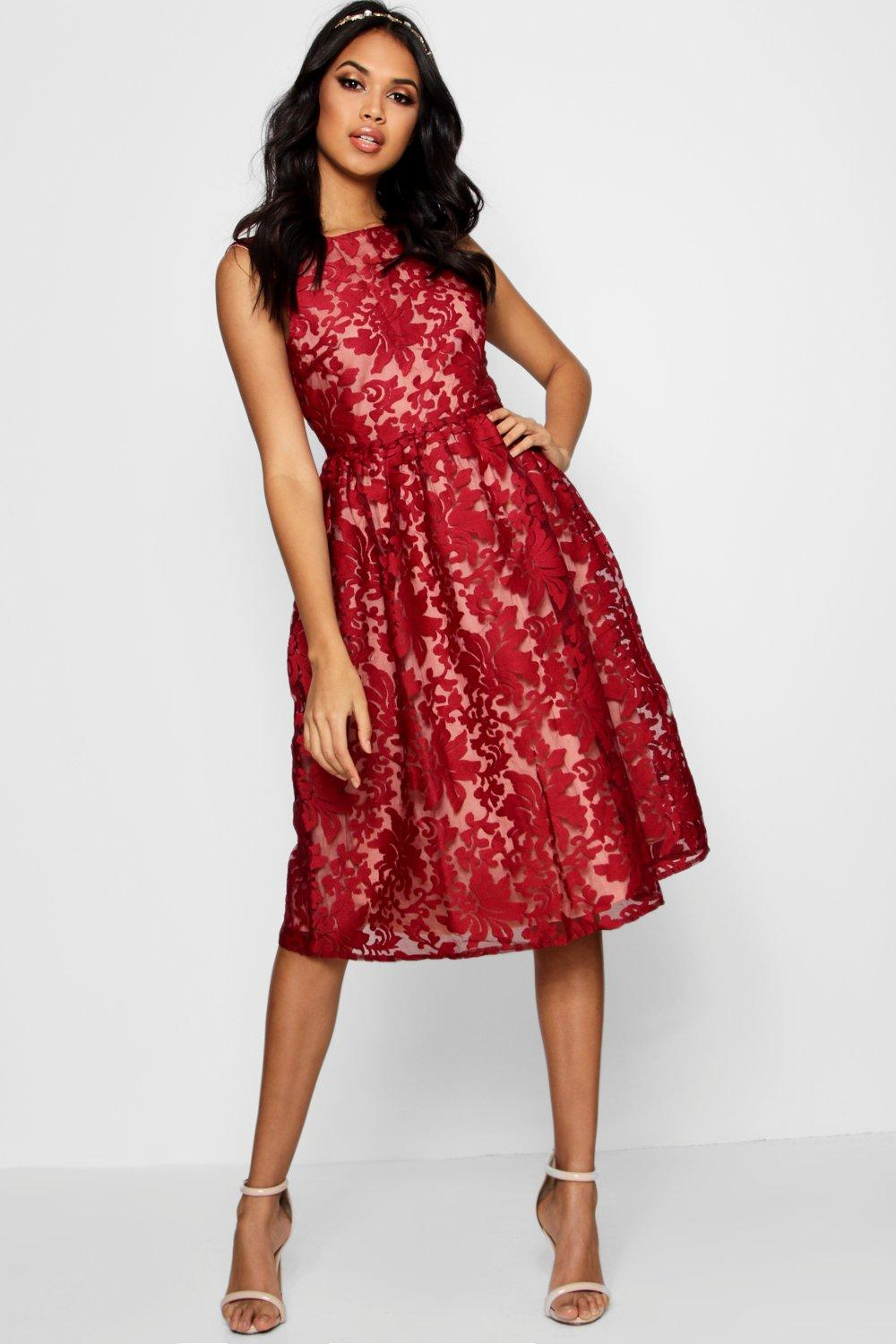 Aria Embroidered Organza Skater Dress  berry