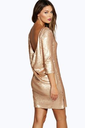 Boutique Alex Sequin Cowl Back Bodycon Dress