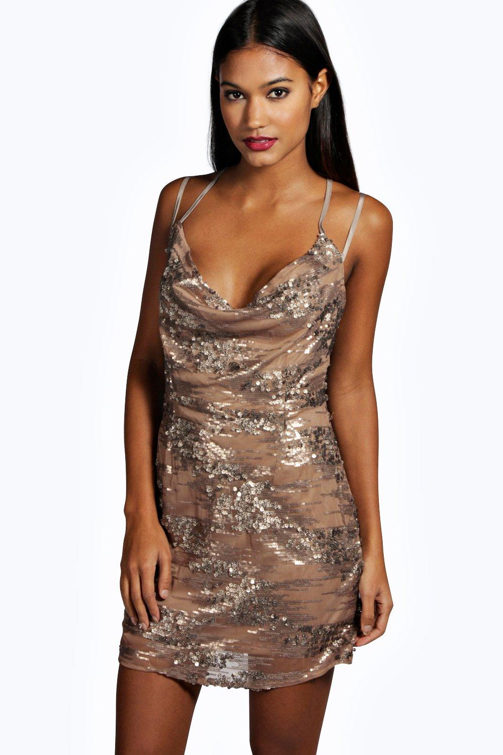 Sally Sequin Strappy Back Slip Dress