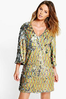 Boutique Hazel Multi Sequin V Neck Shift Dress