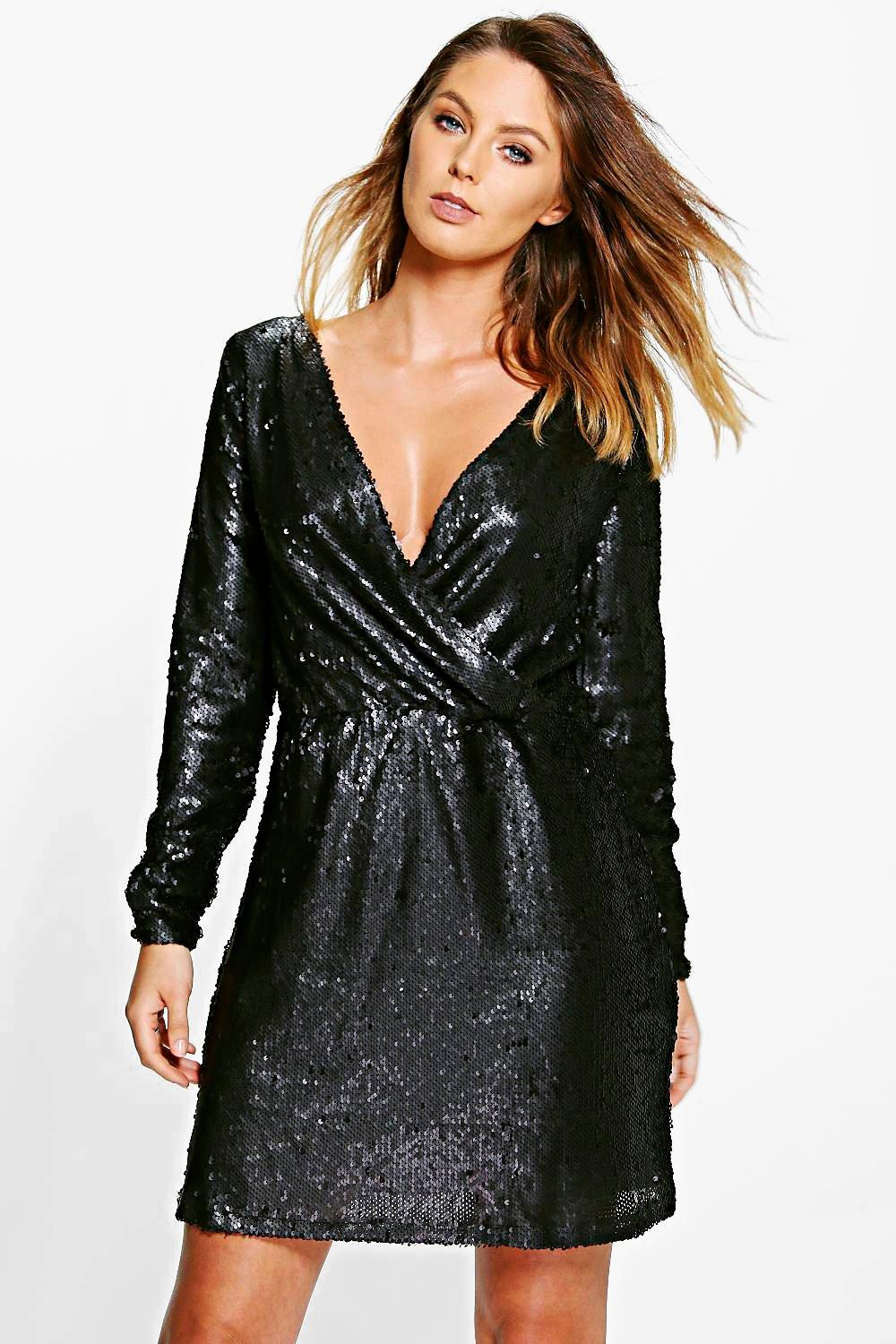 Boutique Viola Sequin Wrap Front Skater Dress
