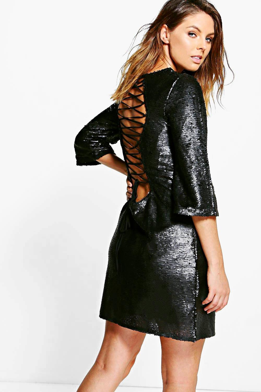Sequin Lace Up Back Detail Shift Dress black