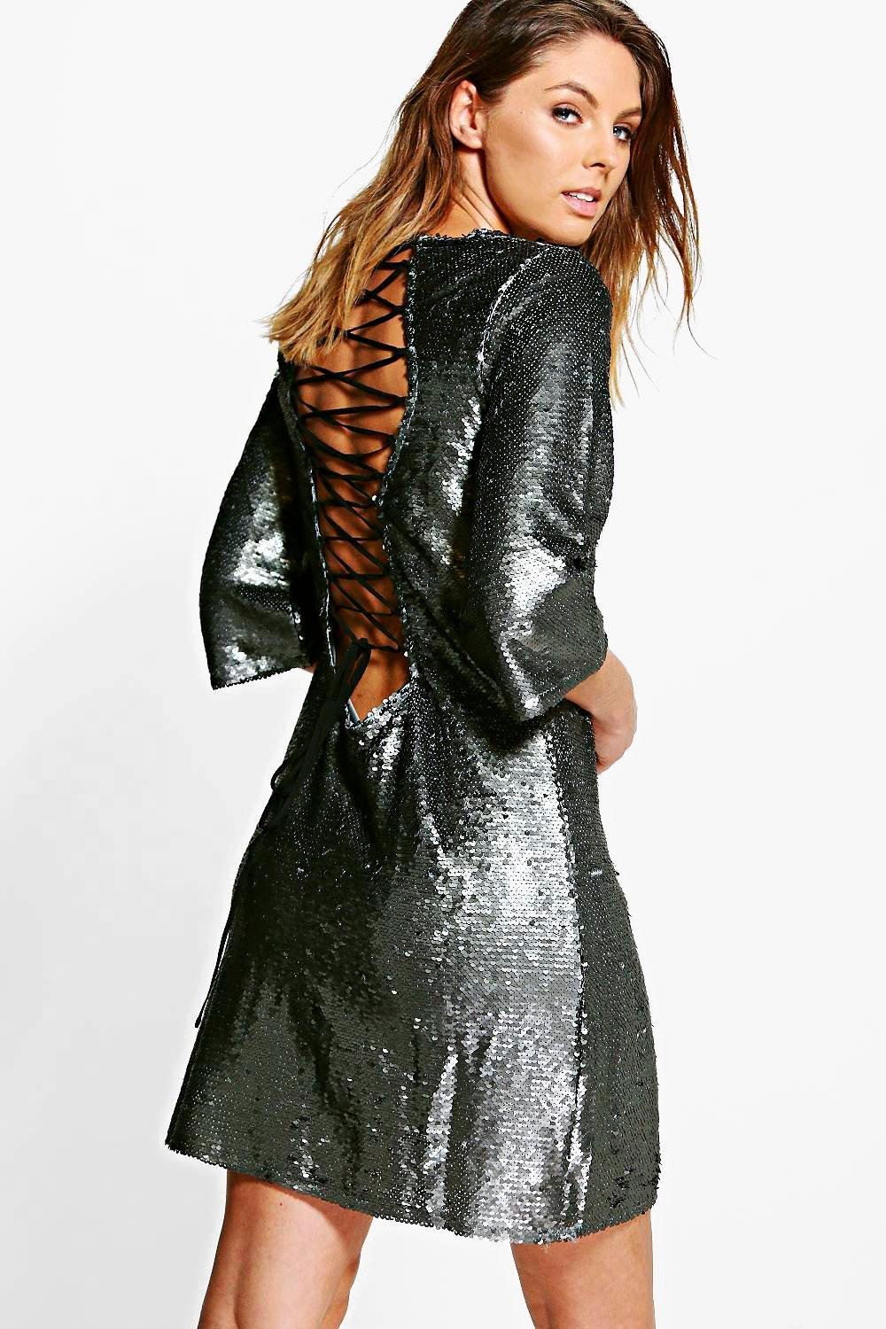 Boutique Sequin Lace Up Back Detail Shift Dress