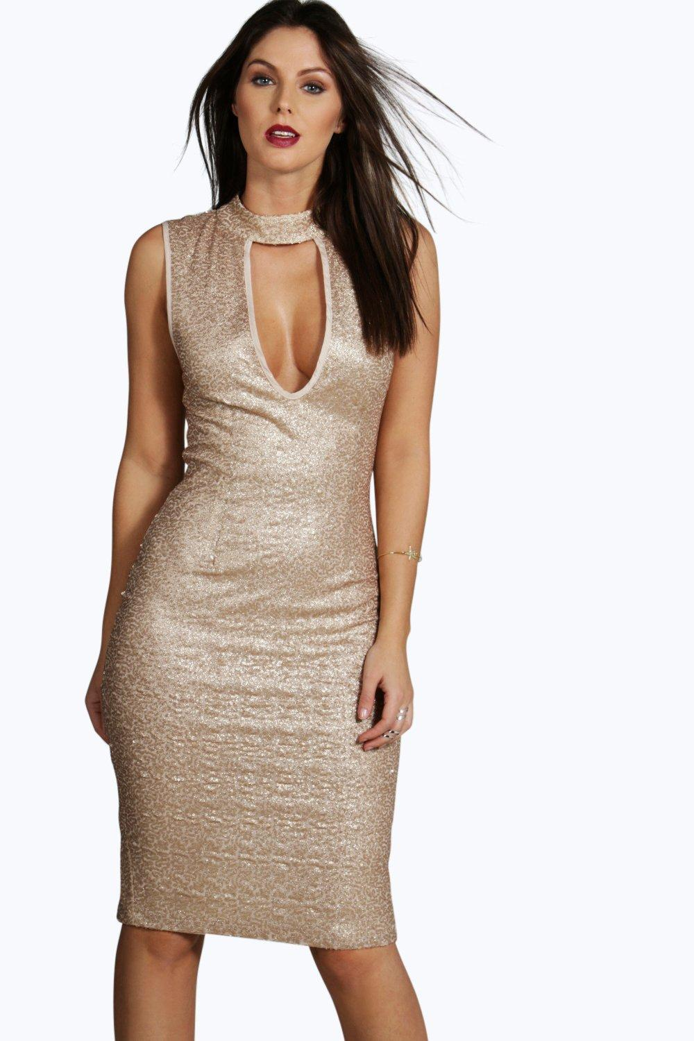 Boutique Ella Sequin Keyhole Plunge Midi Dress