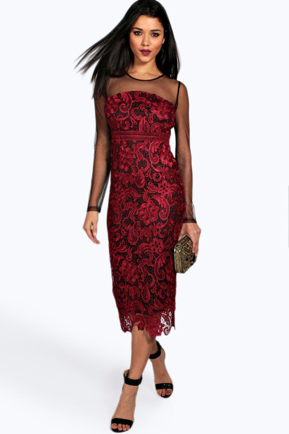 boohoo Boutique Ruth Lace Panelled Mesh Sleeve Midi Dress - berry $52.00 AT vintagedancer.com