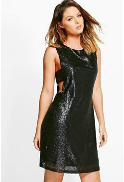 Clara Sequin Tabard Shift Dress