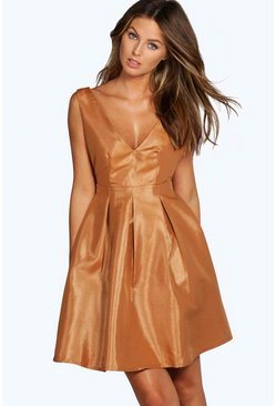 Hanna Plunge Metallic Sheen Skater Dress