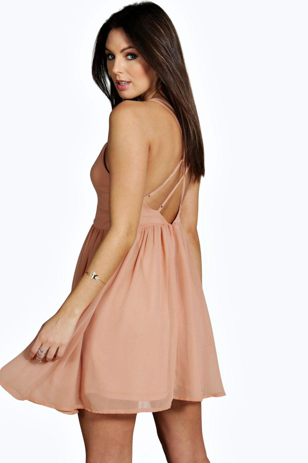 Debbie Metallic Chiffon Strappy Back Skater Dress