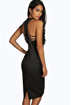 Kathy Embellished Strappy Back Bodycon Dress