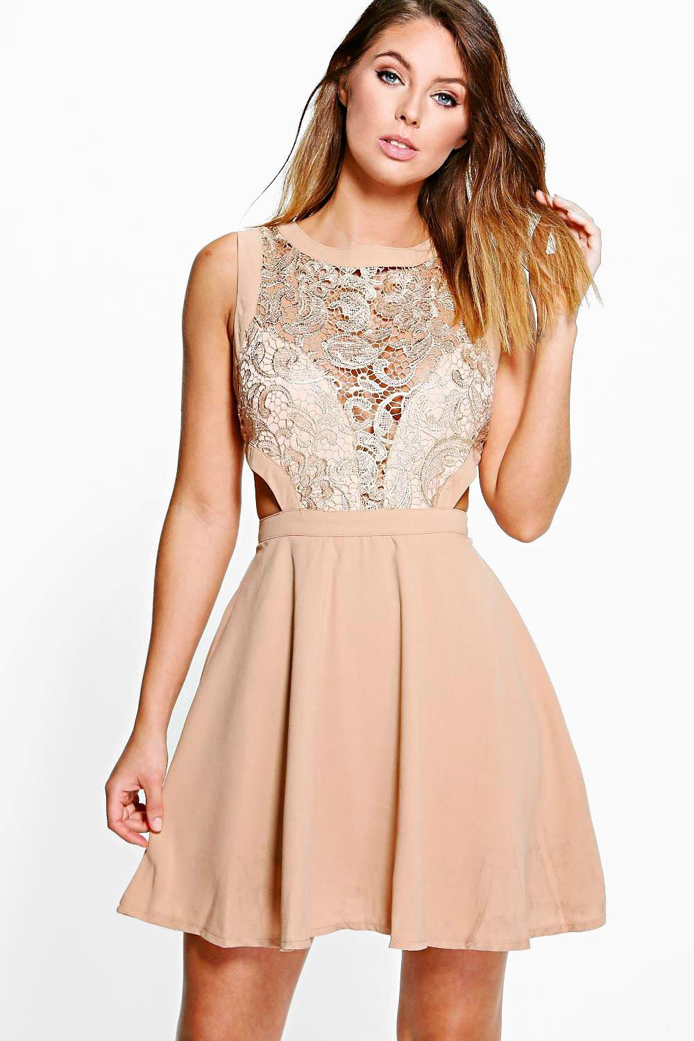 Layla Metallic Lace Cut Out Detail Skater Dress