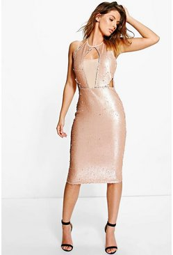 Boutique Anna Sequin & Mesh Panelled Midi Dress