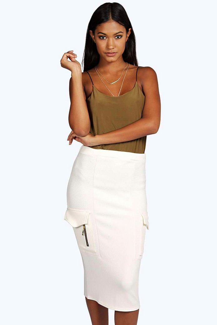 Marin Ribbed Thick Ponte Utility Midi Skirt