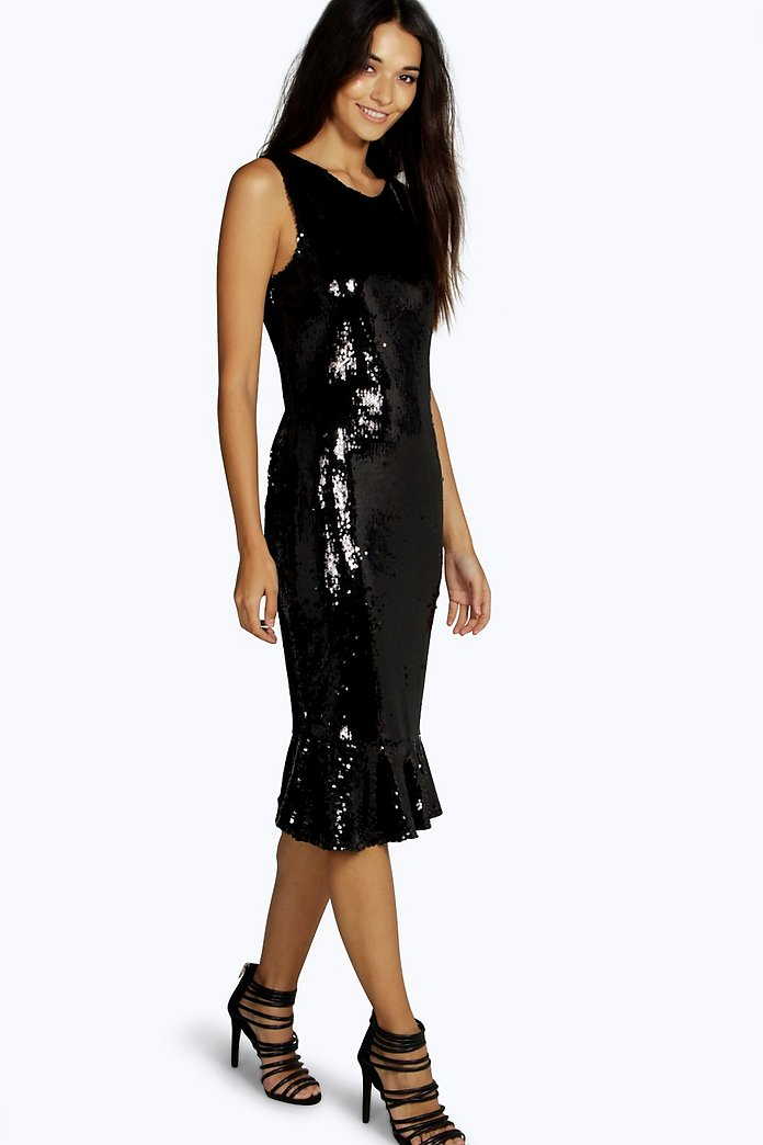 Boutique All Over Sequin Peplum Midi Dress