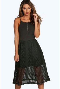 Sara Mesh Overlay Strappy Midi Skater Dress