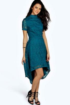 Ara Embroided Mesh High Neck Dip Hem Dress