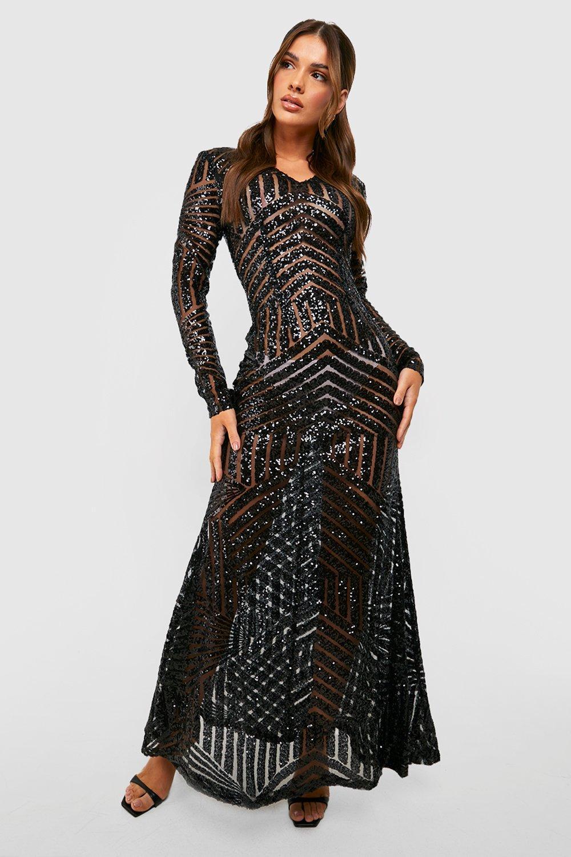 boohoo Boutique Mia Sequin  Mesh Plunge Neck Maxi Dress - black $70.00 AT vintagedancer.com