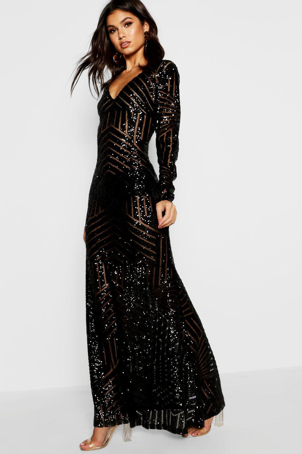 Boutique Mia Sequin & Mesh Plunge Neck Maxi Dress