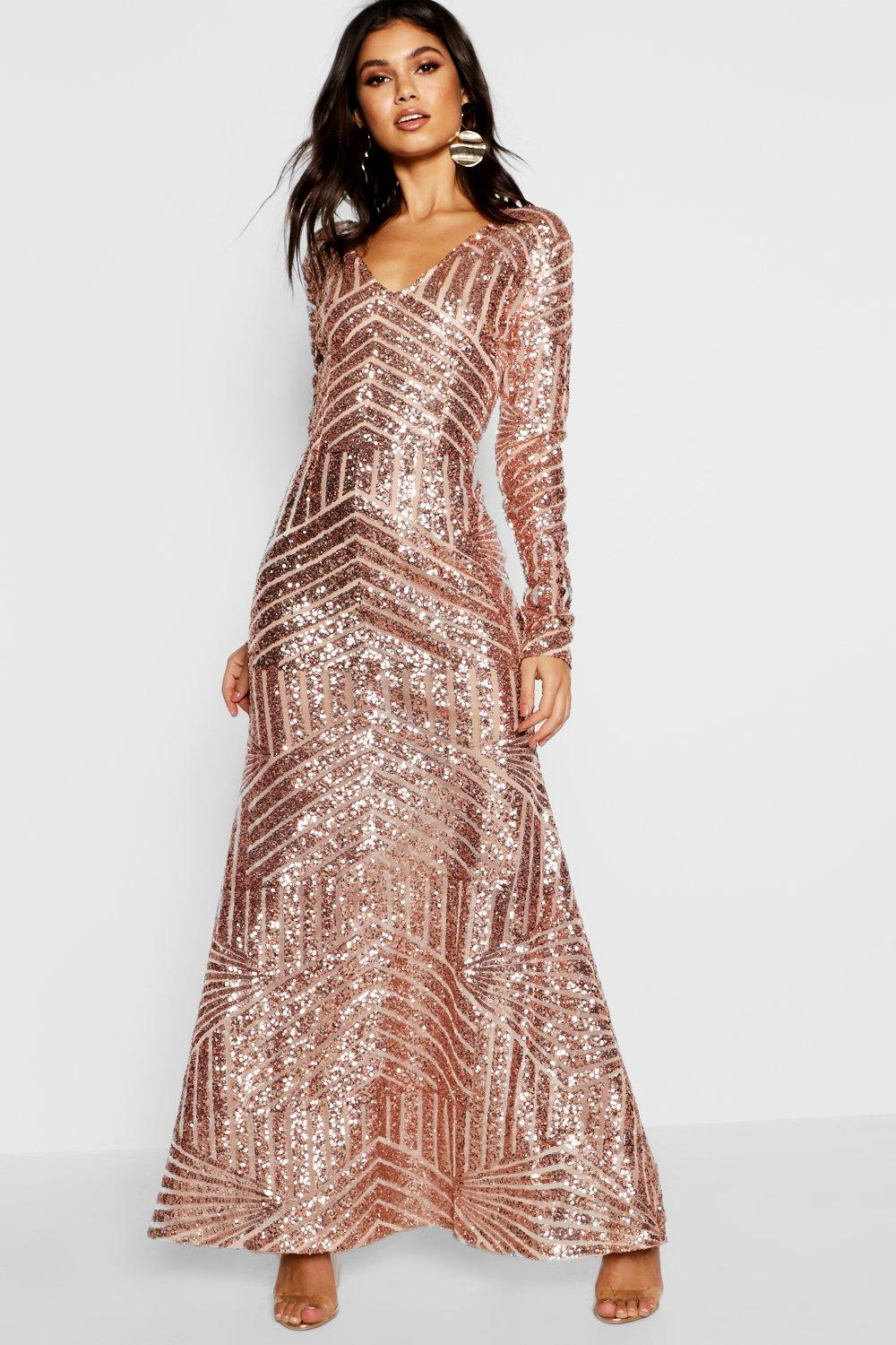 boohoo Boutique Mia Sequin  Mesh Plunge Neck Maxi Dress - nude $70.00 AT vintagedancer.com