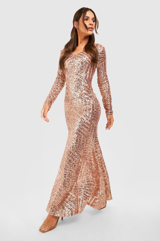 Boutique Mia Sequin & Mesh Maxi Dress | Boohoo