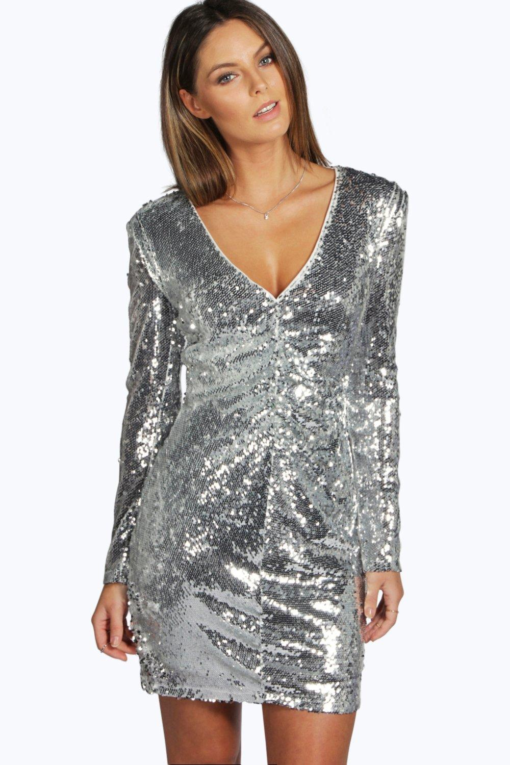 Boutique Mina Sequin Plunge Neck Bodycon Dress
