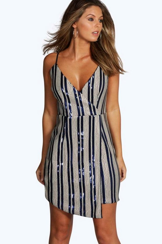 Boutique Loraine Striped Sequin Wrap Cami Dress