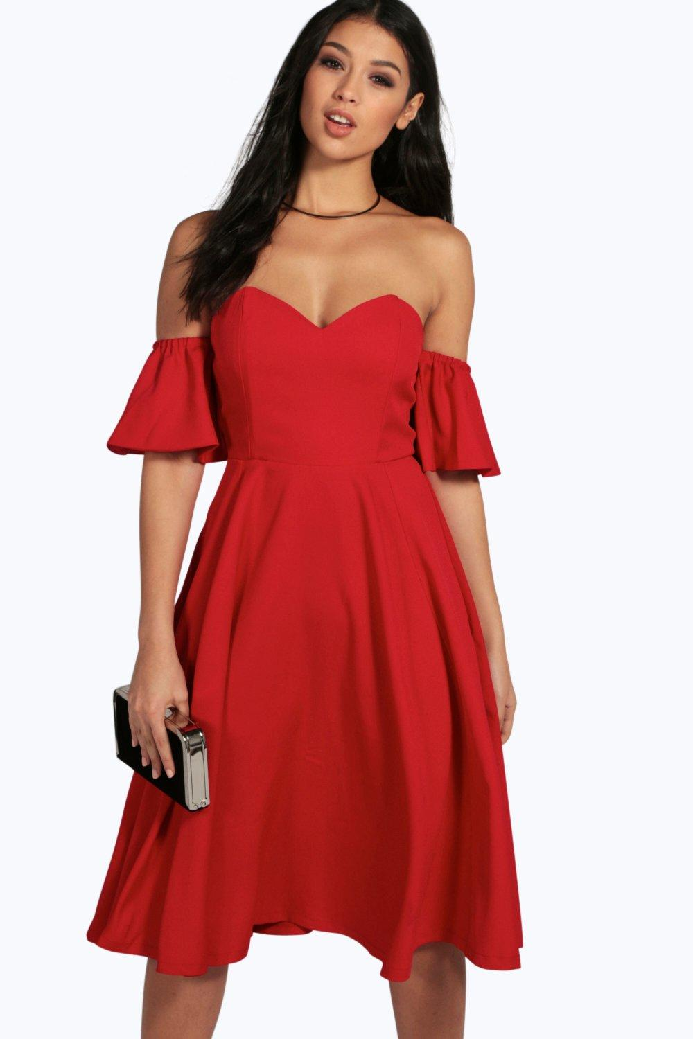 Ria Sweetheart Off The Shoulder Midi Dress