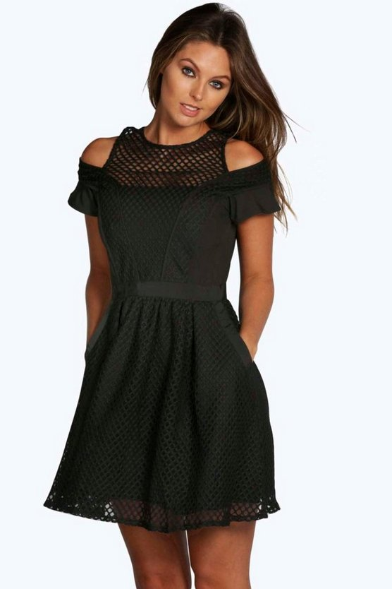 Catt Mesh Panelled Detail Skater Dress