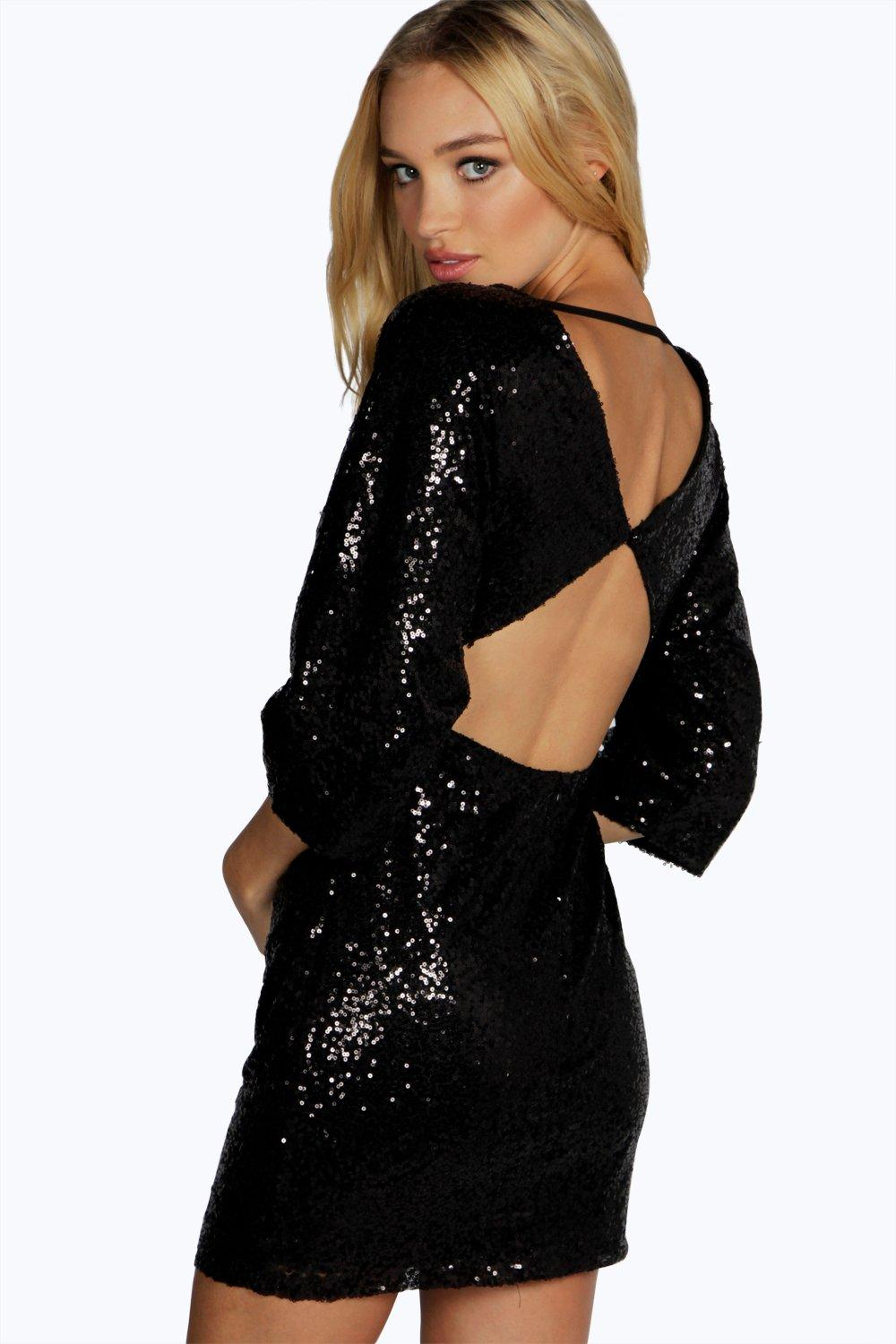 Lia Sequin Open Back Detail Bodycon Dress