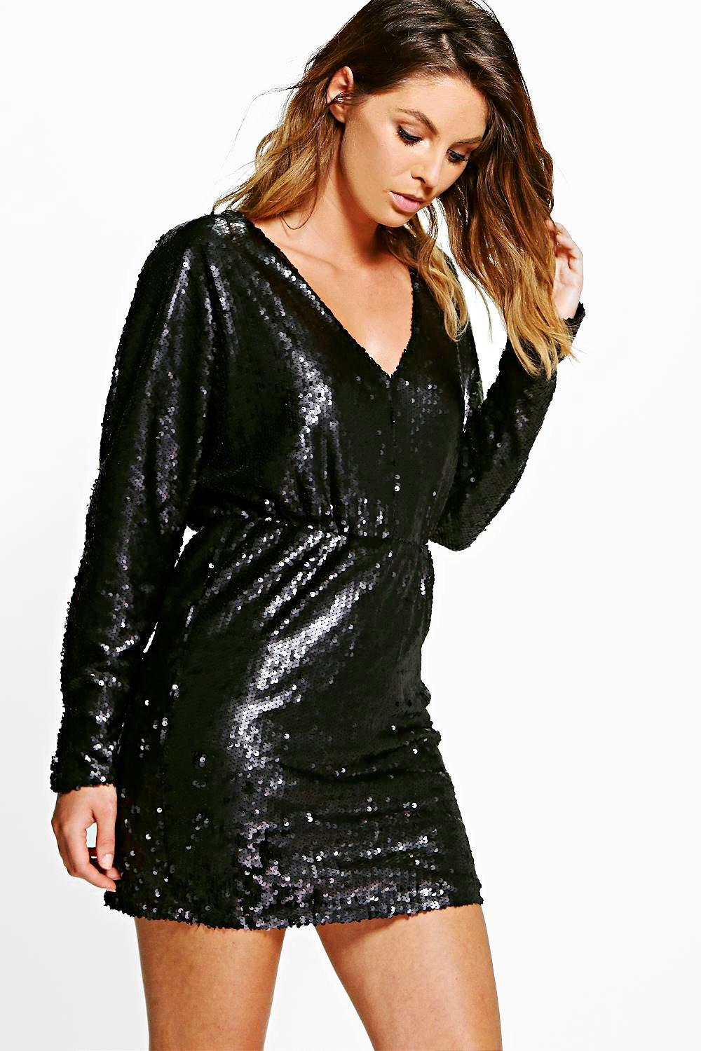 Boutique Sorinne Sequin Batwing V Neck Dress