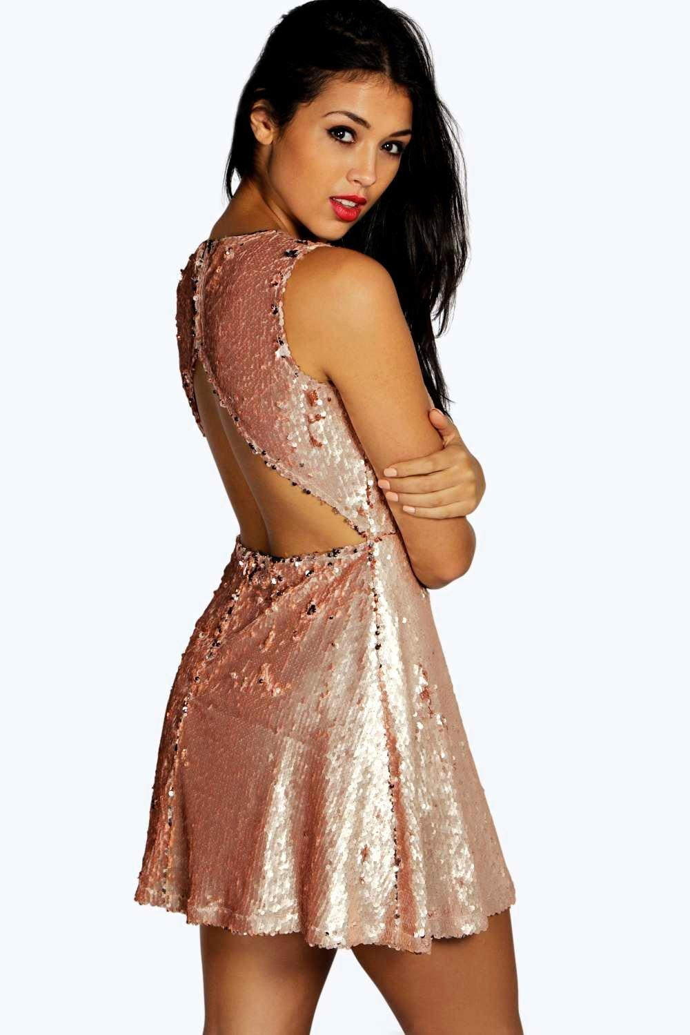 Lila Sequin Open Back Detail Skater Dress
