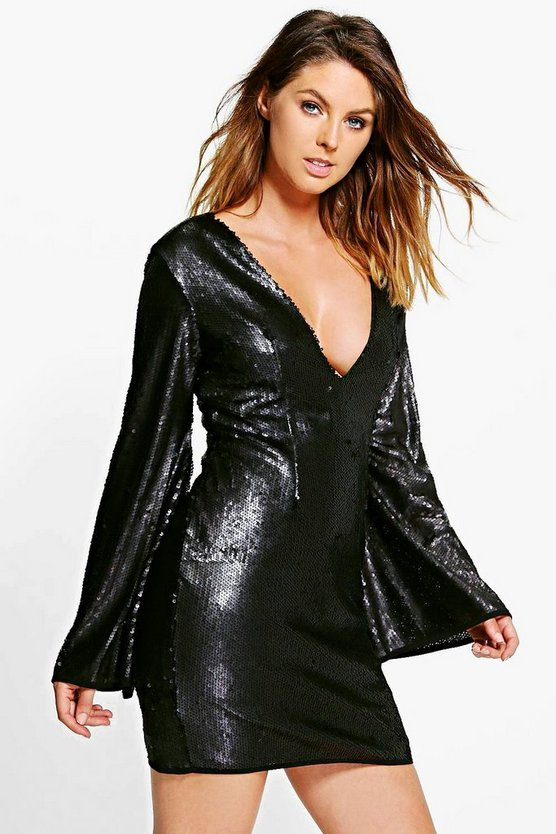 Boutique Bea Midi Plunge Neck Bodycon Dress