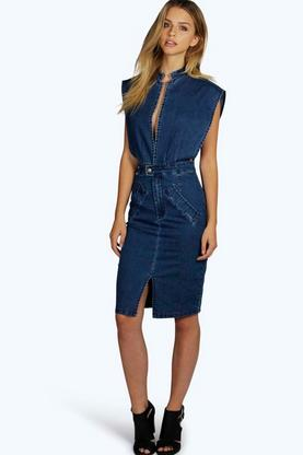 Boutique Jessica Open Front Denim Dress