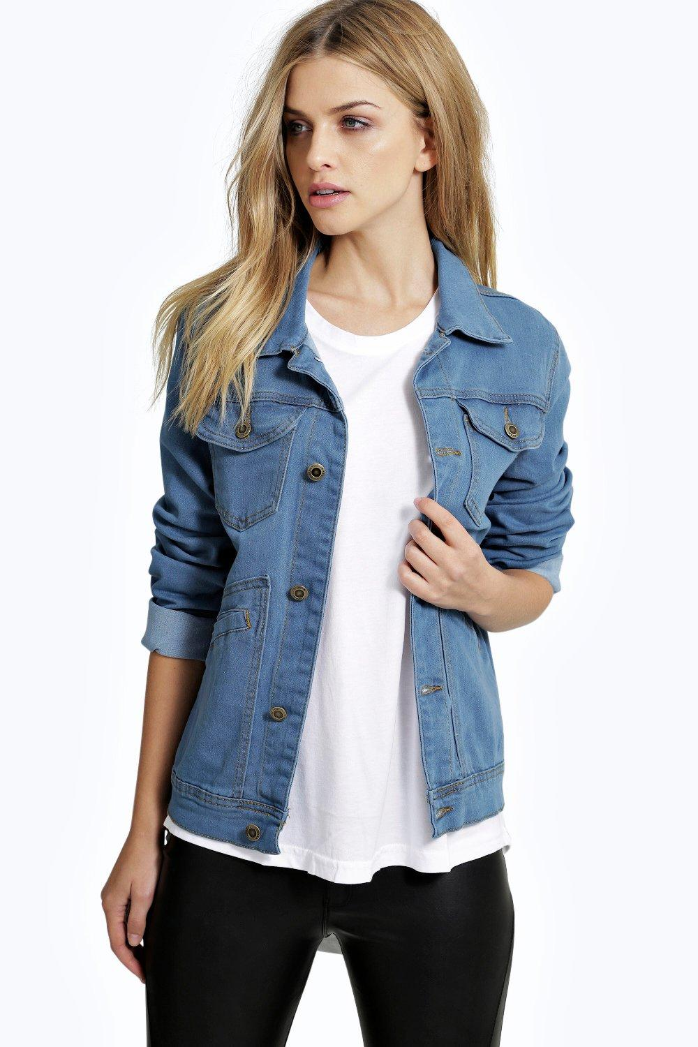 Lena Utility Pocket Boyfriend Denim Jacket