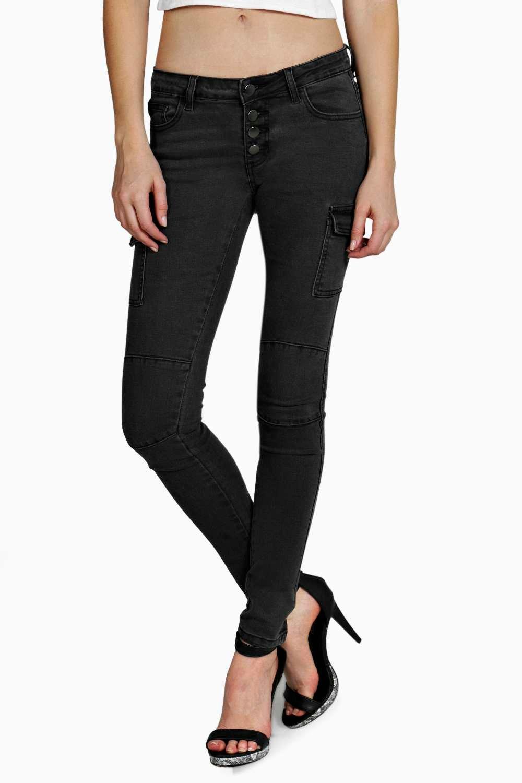 Lastest Womens Ladies Burdundy Low Rise Slim Skinny Stretch Combat Trousers