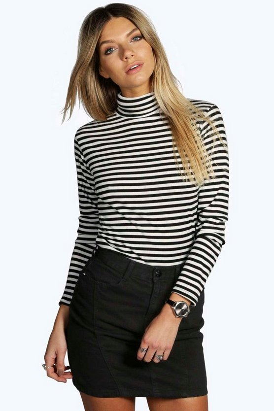 Hope Ribbed Striped Turtle Neck Top