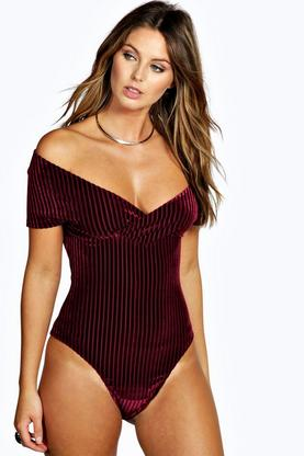 Jess Ribbed Velvet Plunge Off Shoulder Bodysuit