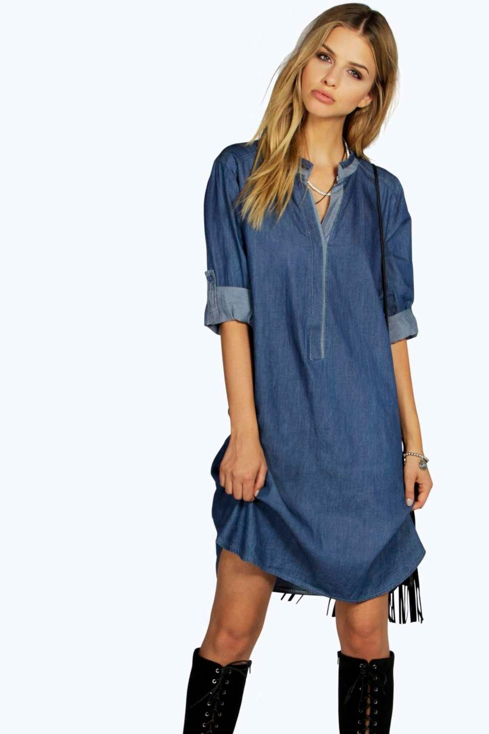 boohoo Maria Tunic Style Denim Shirt Dress - mid blue