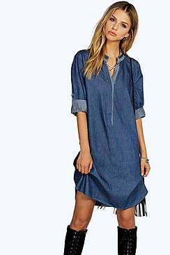 Maria Tunic Style Denim Shirt Dress